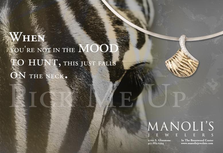 Zebra necklace ad for Manoli's Jewelers