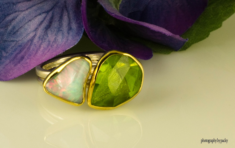 Opal and peridot ring from Greece