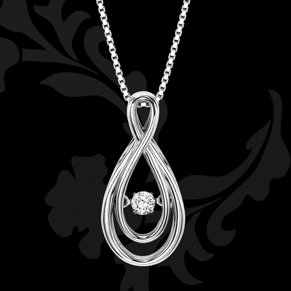 Rhythm of Love White Gold Drop Pendant
