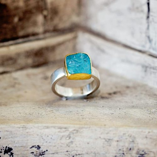 Greek Aqua Marine Ring, White Gold, Springfield, MO - Photography by Packy Savvenas