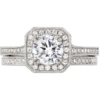 14k octagonal halo engagement ring