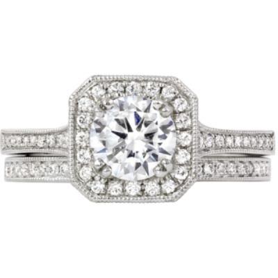 14k octagonal halo engagement ring