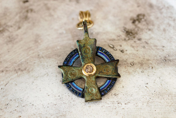Byzantine Cross, Blue Sapphires