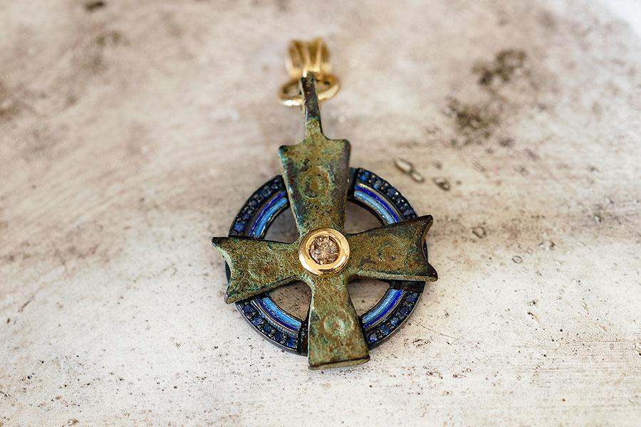 Byzantine Cross, Blue Sapphires