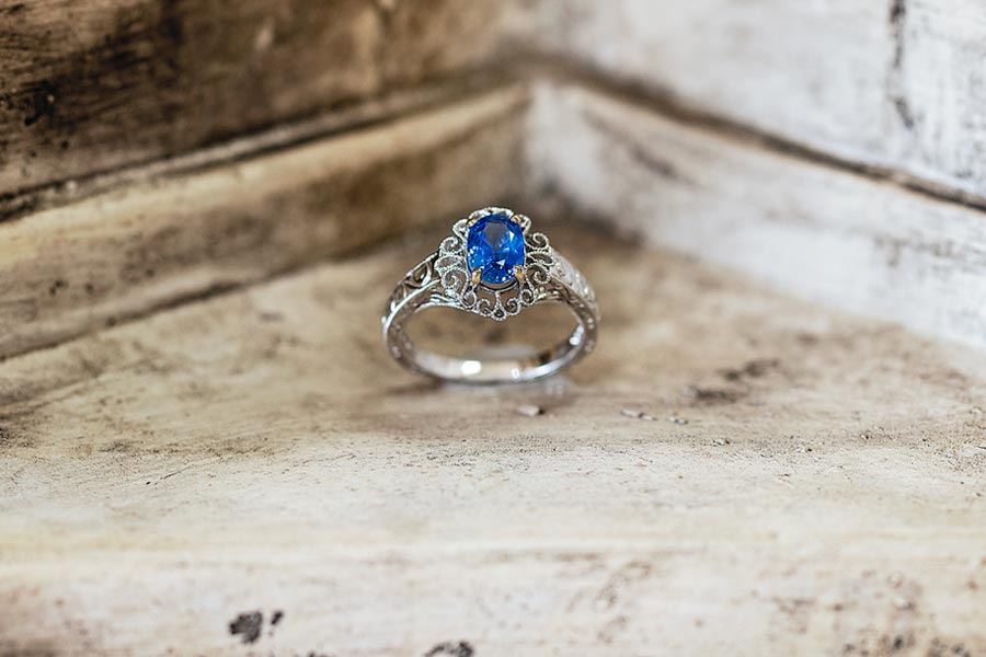 Greek Blue Sapphire Wedding Ring