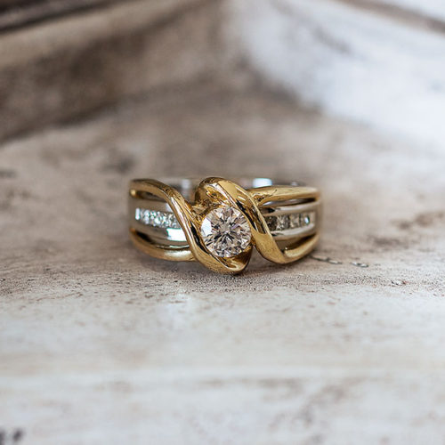 Yellow and White Gold Engagement Ring